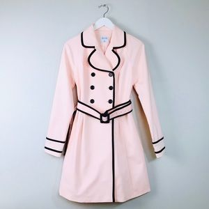 ELLE Soft Pink Black Piping Trench Coat